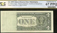 Superb Gem 1999 $1 Dollar Insufficient Inking Error Note Paper Money Pcgs 67 Ppq