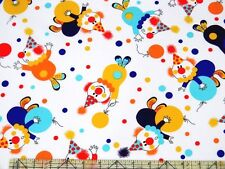 Michael Miller Party Clowns White Fabric BHY