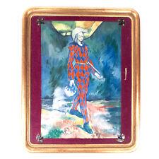 "Vintage Mid-Century Jester Figure Enamel On Copper Painting 12.30"""