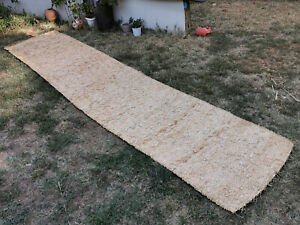 ANTIQUE PRIMITIVE OLD STRAW KNITTED CARPET RUG FLOORCLOTH 19TH