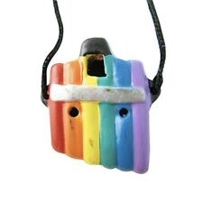 More details for rainbow panpipe ocarina / flue pendant with necklace