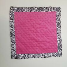Girls Security Blanket Pink Minky Dots Damask Trim Creations of Grace