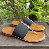 Italian Shoemakers Thong Sandals Dress Casual Slip On Black Tan
