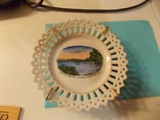 SOUVENIR CHINA STERLING ILLINOIS PLATE UP RIVER FROM HEAD OF EAGLE ISLAND