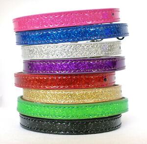 Glitter Cat Collar Kitten Safety Elastic Sparkly Bling Adjustable Bell 8 Colours