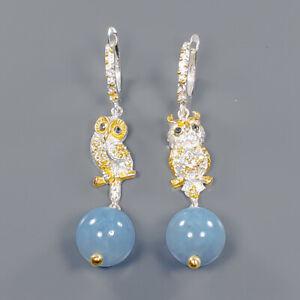 Aquamarine Earrings Silver 925 Sterling Set Jewelry Design  /E41439