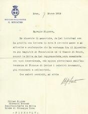 Documento Autografo Ministro Luigi Facta  Vertenza Fenestrelle Comune Roure 1912