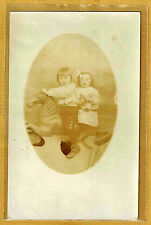 Carte Photo vintage card RPPC 2 enfants cheval manège jouet mode fashion ph0107