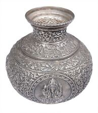Antique Silver Pitcher Pot Holy Handcrafted Carved Rare Gangajal Pot Indian