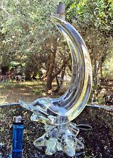 joli pied de lampe en verre soufflé en forme de dauphin 20 ème