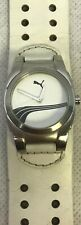 Puma Watch Unisex White Wide Leather Band, New Battery