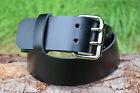 Cristopher Handmade Genuine Black Leather Belt 2 Prong Buckle 2 Inch Width