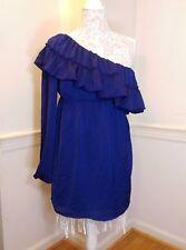 JUDITH MARCH Ruffle Purple Blue One Shoulder Satin Dress Sz L american made mini