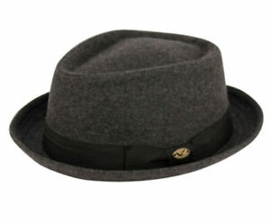 Diamond Shape Wool Fedora Hat w/Grosgrain Band Classic Pork Pie Stingy Brim