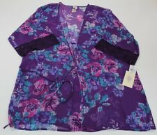 In Bloom by Jonquil Womens Purple Sheer Floral Print Short Robe XL