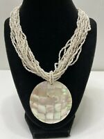 Bold Chunky Vintage Necklace Pendant Choker Mother of Pearl Seed Bead Tan White