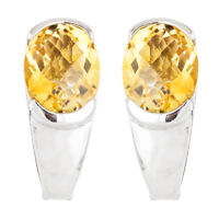 100% NATURAL+ 10X8MM CITRINE CHECKERBOARD CUT AAA++ STERLING SILVER 925 EARRING