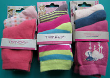 LOT 8 PAIRES DE CHAUSSETTES 21/23 fille blanc rose rayures oiseaux TWINDAY NEUF