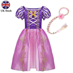 Girls Rapunzel Fancy Dress Costume Kids Princess Cosplay Prom Party Outfits Wig
