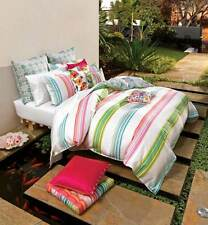 King Bed Quilt Cover Set with Euros Bright Stripe Daiquiri Cotton Striped