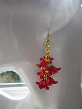 Drop / Dangle Earrings -  Red & Gold Flower Cluster -  Gold Plated