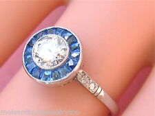 ART DECO .60ct EURO DIAMOND SOLITAIRE SAPPHIRE HALO PLATINUM ENGAGEMENT RING