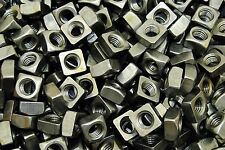 (100) Unplated 1/2-13 Square Nuts - Coarse Thread - Plain Steel