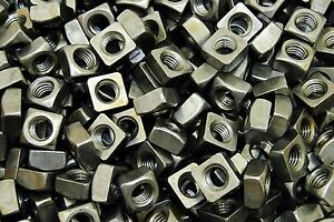 (100) Unplated 1/2-13 Square Nuts - Coarse Thread - Plain Steel