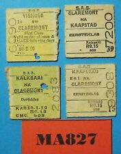 South Africa Halves Railway Tickets x 4 Dated 1960's Ref MA827