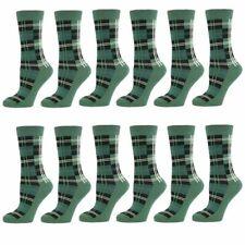 GREEN TARTAN WHITE CHECK MENS ANKLE SOCKS  SIZE 6-11
