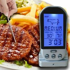 Wireless Remote Digital Cooking Food Meat Thermometer For Smoker Grill Oven BBQ