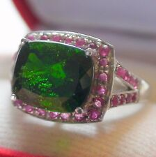 4.85 ct NATURAL CHROME DIOPSIDE,PINK RUBY RING,925 STERLING SILVER.SIZE 7,5.