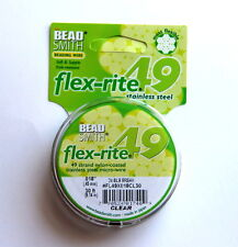 Flex-rite, Premium Beading Wire, Clear, 49 Strands, 018 thick, 30 Ft,