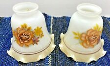 Lamp Covers Glass Light Shades Brown Flowers Ruffled Edge Autumn Colors Vintage