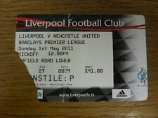 01/05/2011 Ticket: Liverpool v Newcastle United (folded, corner torn off). Fault