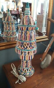 Ceramic Harlequin Table Lamp, project as needs to be rewired.