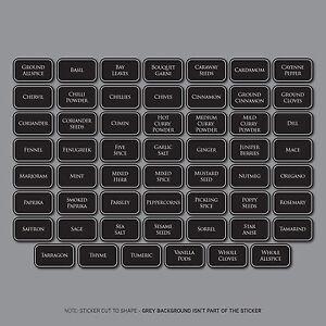 55 x Spice / Herb Storage Jar Labels Stickers Decals - 44mm x 26mm
