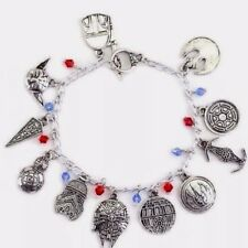 Star Wars Theme SILVERTONE BRACELET WITH 10 CHARMS VERY SUBSTANTIAL!