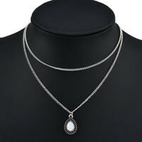 2 Layer Fashion Women Boho Silver Chain Dripping Stones Pendant Choker Necklace