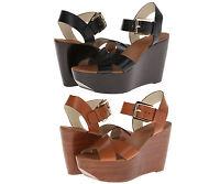 Michael Kors Womens Peggy Wedge Black or Brown Ankle Strap Platform Sandals