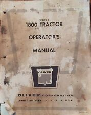 OLIVER 1800 TRACTOR SERIES C OPERATOR'S OWNERS MANUAL Book ORIGINAL Complete