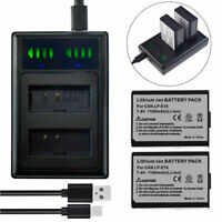 2x LP-E10 Battery +Slim led Charger for Canon M10 / M50 / M100 Mirrorless Camera