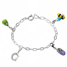 De Buman Sterling Silver Enamel Babyshoe and Bee Bead fit Bracelet, 8.5 inches