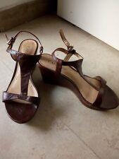 scarpe donna sandali vera pelle marroni con zeppa Café Noir IT 36
