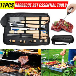 BBQ Barbecue Set Essential Grill Tools 11pcs Utensil Cutlery Outdoor Cooking