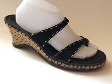 CLARKS Indigo Womens 10 M Navy Blue Leather Thong Sandal Wedge Heels Espadrilles