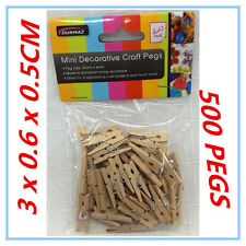 500 PK MINI CRAFT PROJECT DECORATIVE WOODEN NATURAL COLOUR PEGS PEG PACKAGE AP