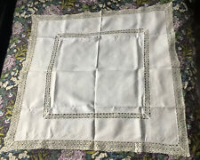 Antique Cream Linen Table Cloth Square Crocheted Tablecloth Victorian Dining
