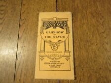 GEOGRAPHIA ROAD MAP OF GLASGOW AND THE CLYDE 1923 CLOTH GOSS