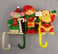 "Vtg Christmas Lot of 3 Plastic Stocking Holders 5"" JSNY Drummer Boy Santa Claus"